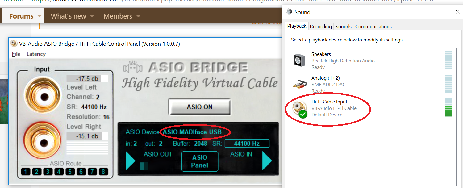 Question about configuration of RME ADI-2 DAC with Windows