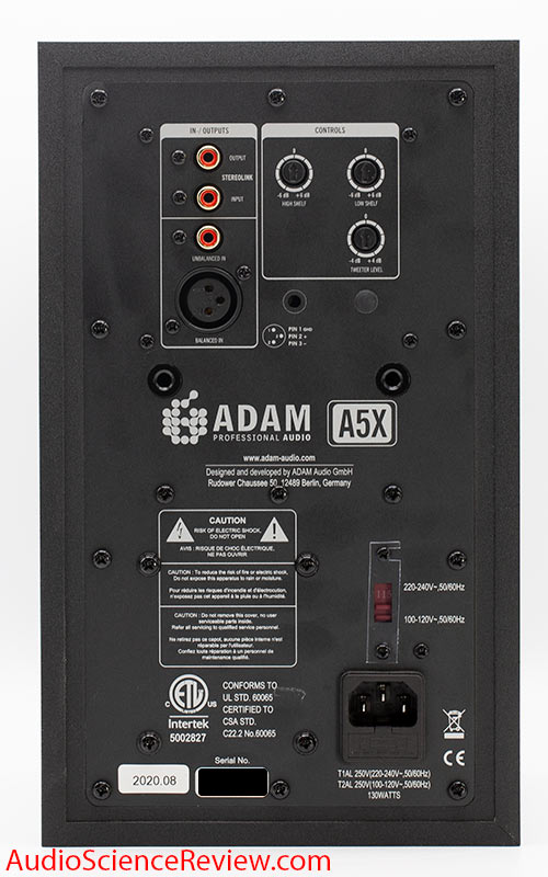 Adam A5X Review speaker Powered Studio Monitor back panel.jpg