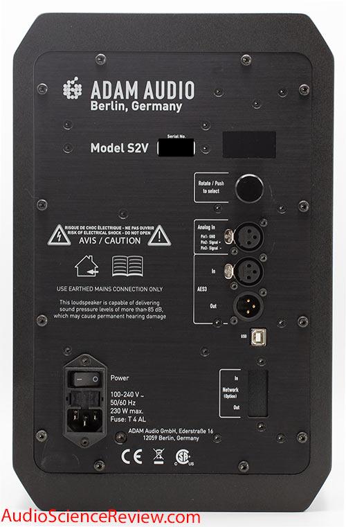 Adam S2V Monitor Powered Studio Speaker back panel controls connectors Audio Review.jpg