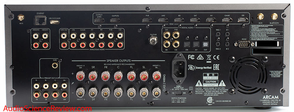 Arcam AVR10 AV Receiver Home Theater Doly Atmos UHD HDMI Back Panel Connectors Inputs Outputs ...jpg