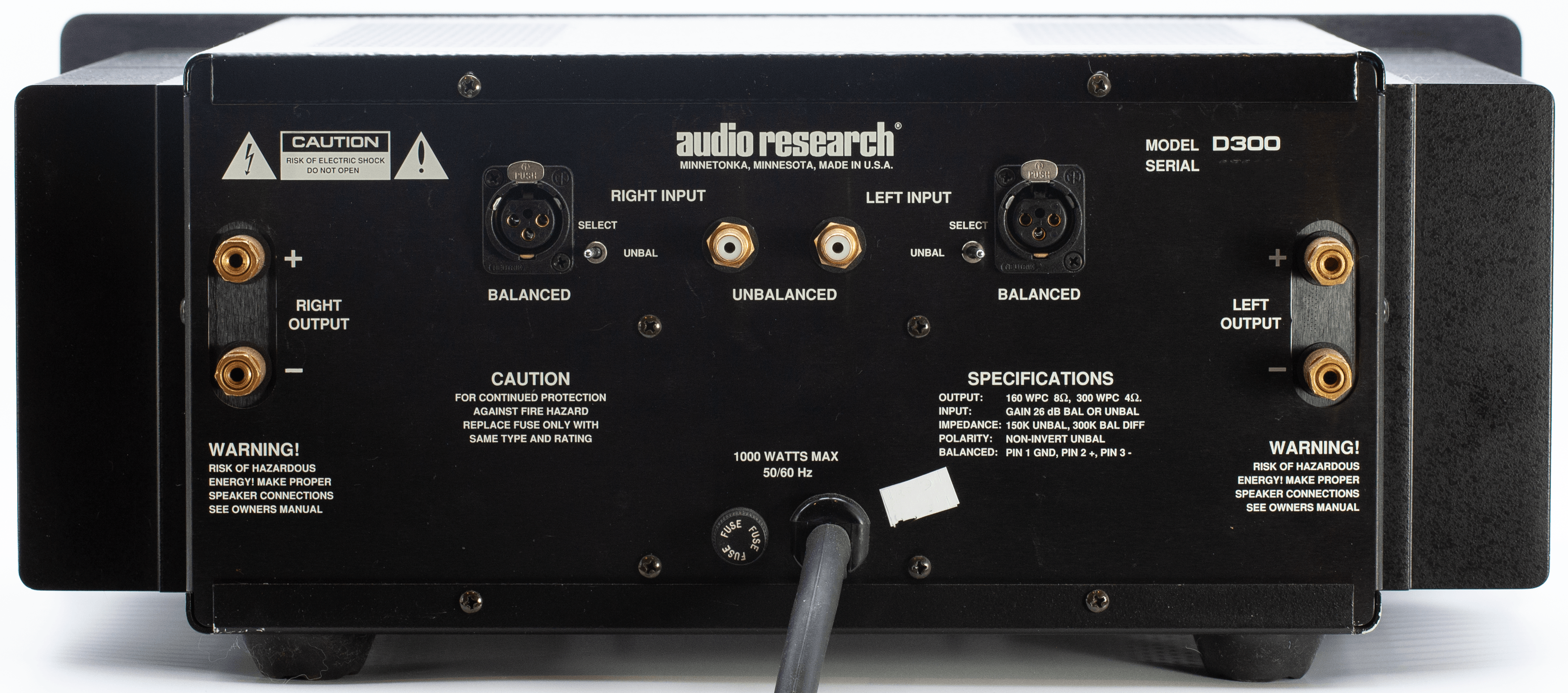 Audio Research D300 Stereo Power back panel connectors Amplifier Review.png