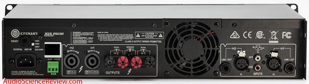 Crown XLS2502 Drivecore Stereo Pro Amplifier Back Panel Connectors Audio Review.jpg