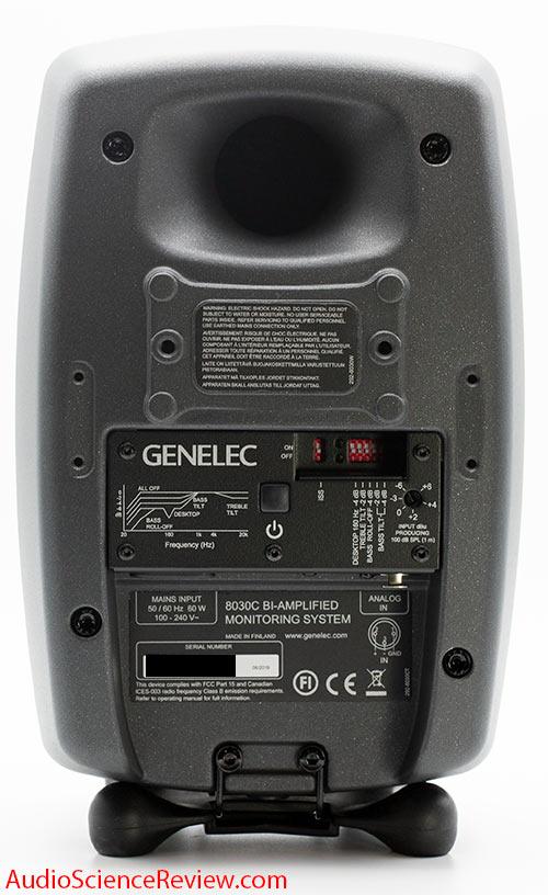 Genelec 8030C Professional Studio Monitor Speaker 2-way back panel inputs switches Audio Review.jpg