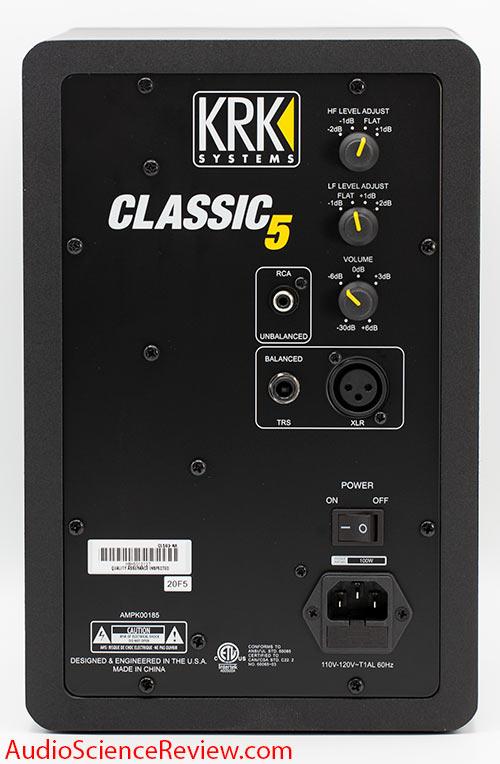 KRK Classic 5 Review Bookshelf Powered Studio Monitor back panel xlr Budget.jpg