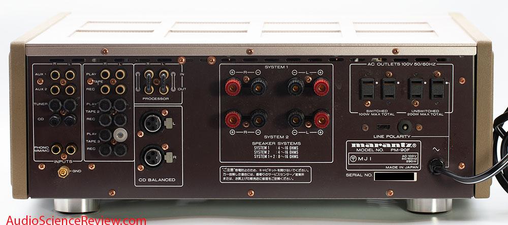 Marantz PM-90 Review Integrated Balanced Vintage back panel Stereo Amplifier.jpg
