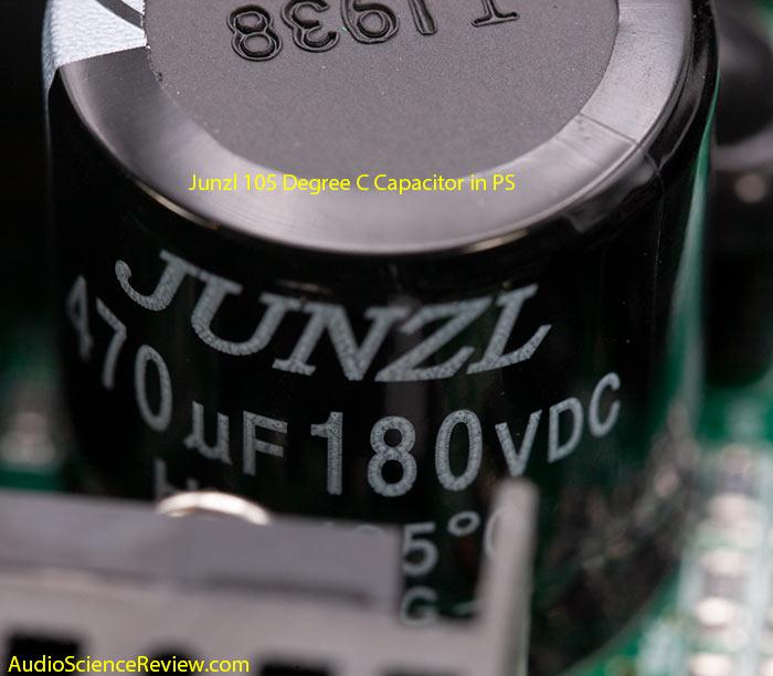 Monoprice 605030 pro amplifier class D teardown PS Junzl capacitor.jpg