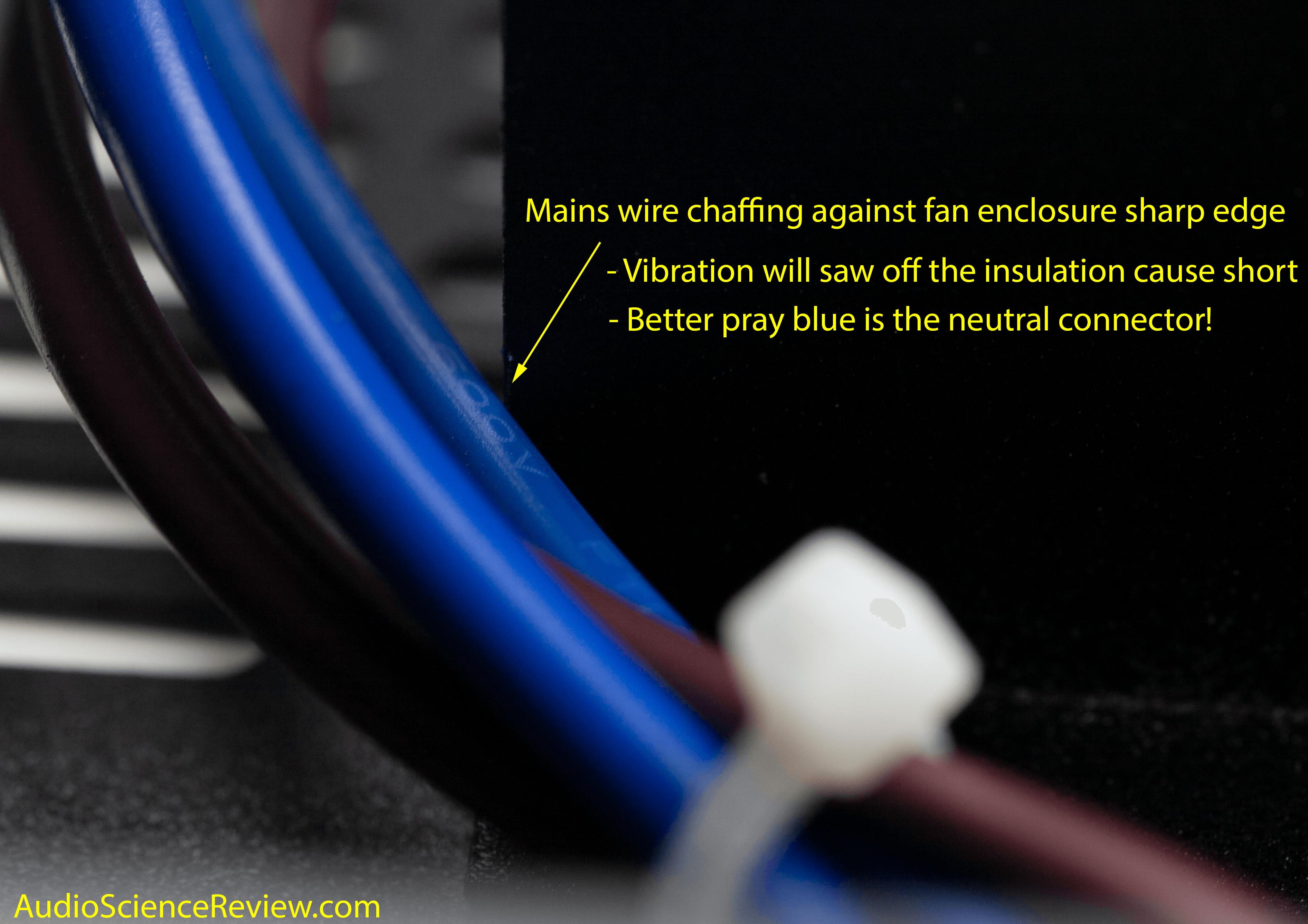 Monoprice 605030 pro amplifier class D teardown wire touching case.png