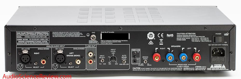 NAD C268 Hypex UcD Power Amplifier Back Panel Connectors Bridge Audio Review.jpg