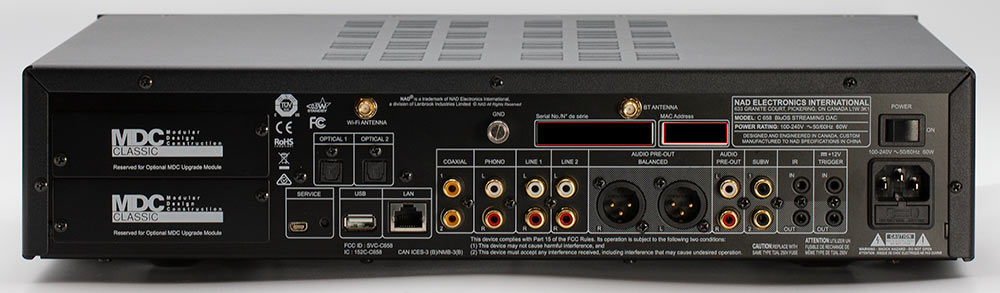 NAD C658 streaming preamplifier DAC Back Panel Connectors Inputs Audio Review.jpg