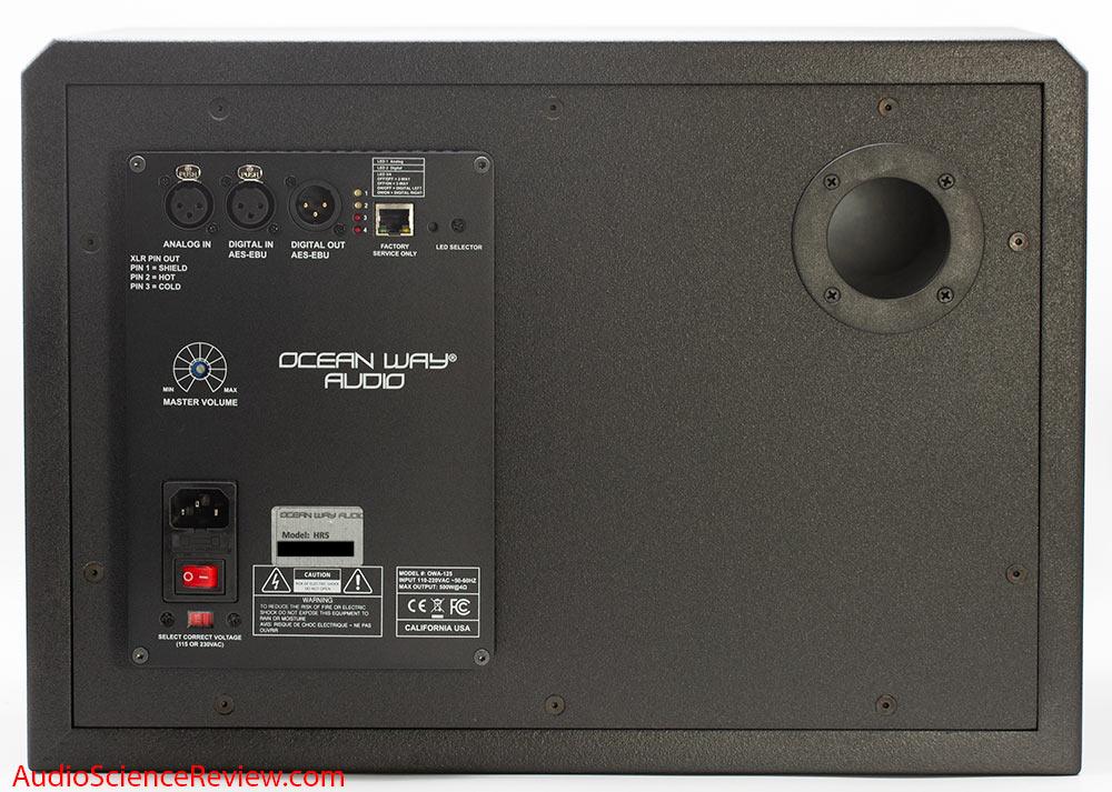 Ocean Way HR5 Studio Monitor Powered Speaker Back Panel Controls Audio Review.jpg