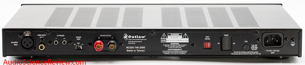 Outlaw 2200 monoblock balanced home theater amplifier Back Panel Audio Review.jpg