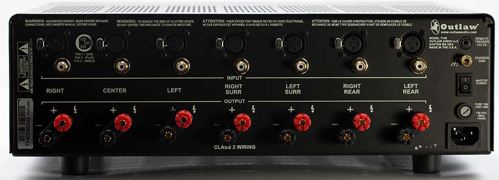 Outlaw Model 7140 7 channel Power Amplifier Back Panel Connector Audio Review.jpg