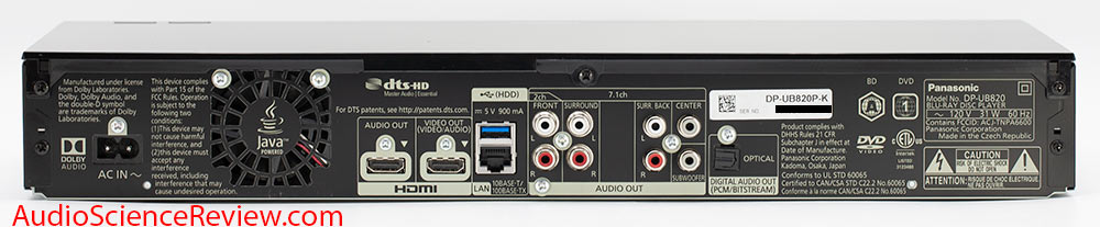Panasonic DP-UB820 UHD Player Audio Review back panel HDMI RCA Multichannel Home Theater.jpg