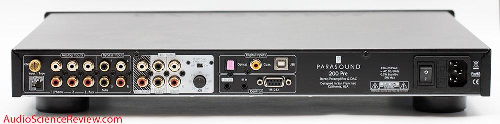 Parasound 200 Pre Review DAC back panel phono preamplifier.jpg