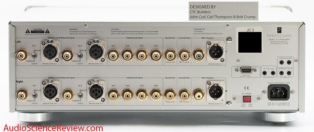 Parasound JC2 Preamplifier Balanced Back Panel XLR Audio Review.jpg