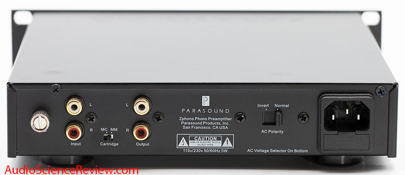 Parasound Zphono Phono Preamplifier stage MC M back panel input RCA ground AC Polarity stereo ...jpg