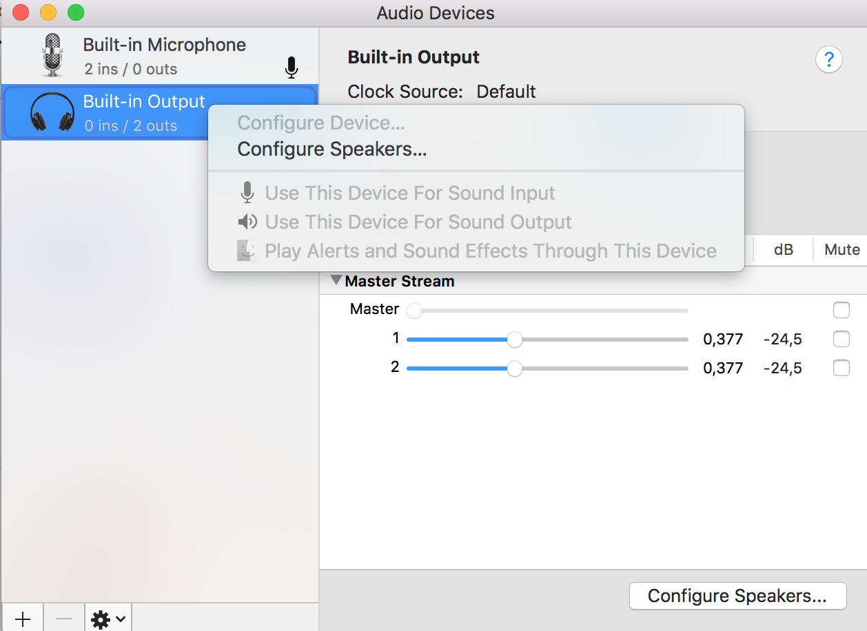 no sound output from macbook pro