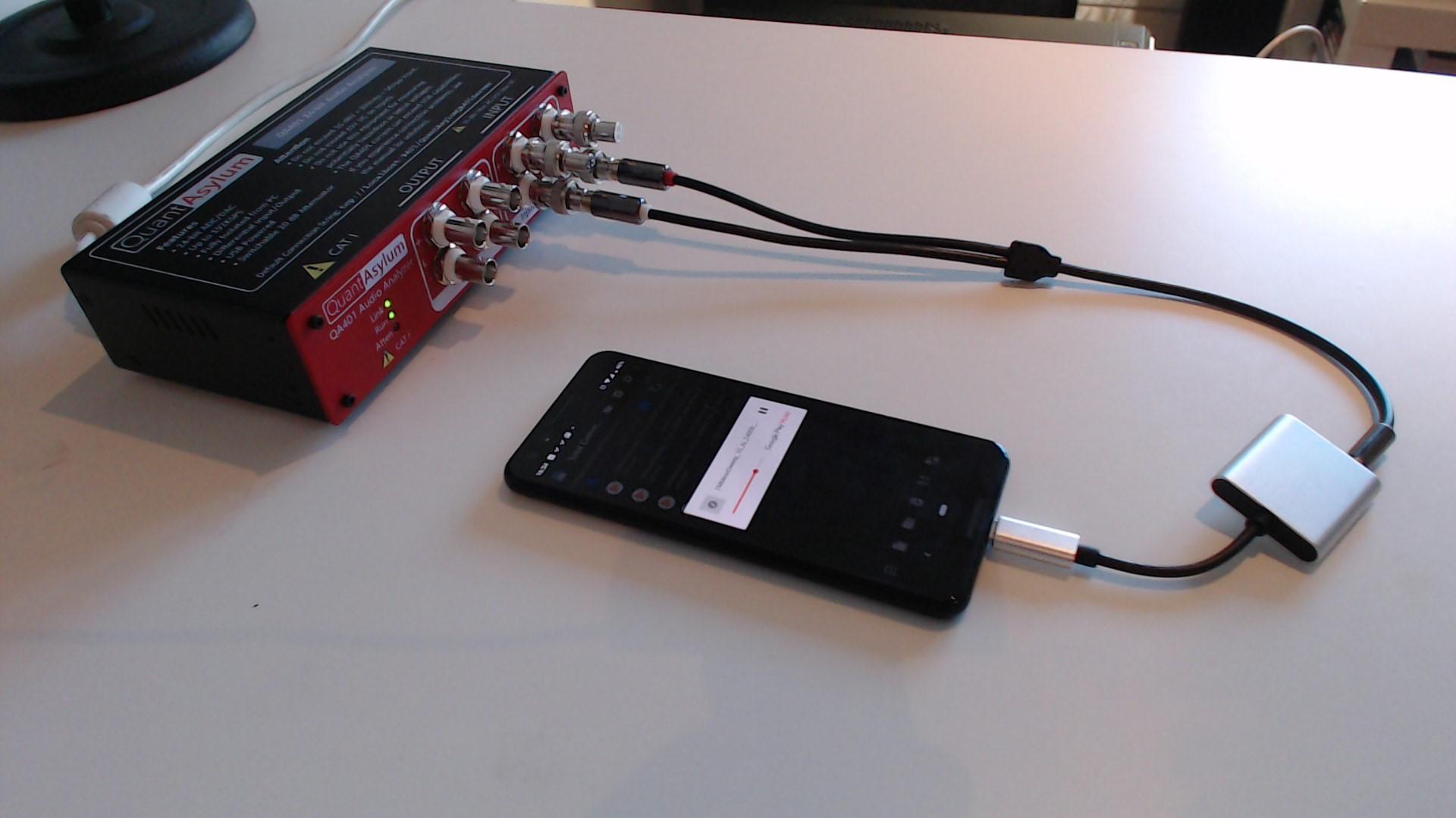 Measurements of Pixel 3 + VIMVIP headphone adapter + Google