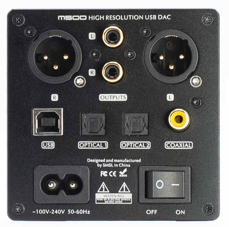 SMSL M500 DAC and Headphone Amplifier Back Panel Connectors Review.jpg