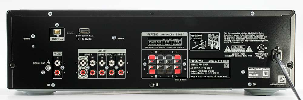 SONY STR-DH190 Stereo Amplifier Back Panel Connections Review.jpg