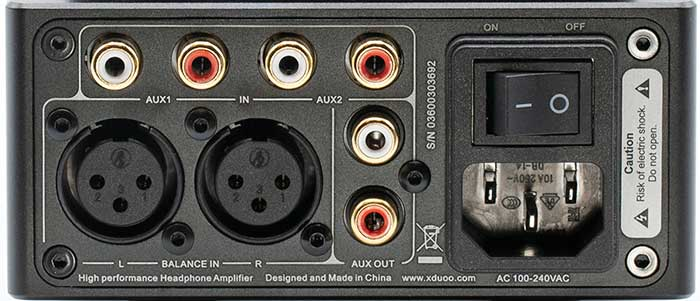 XDuoo TA-20 Balanced Headphone Amplifier Back Panel Connectors Input and Output Review.jpg