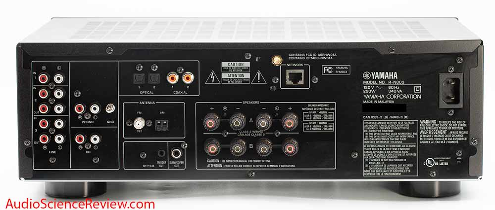 Yamaha R-N803  Hi-Fi Audio Component Receiver back panel inputs and outputs Audio Review.jpg